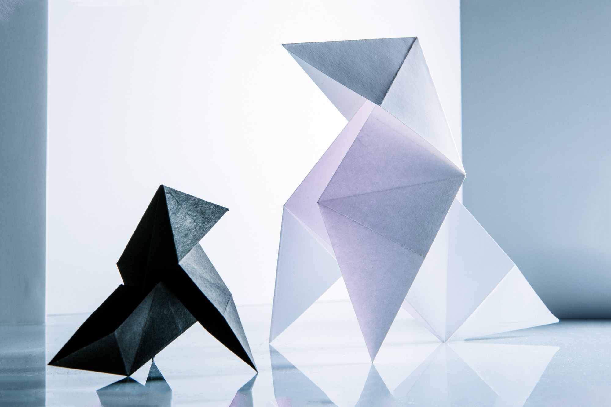 Origamis dans une ambiance glaciale